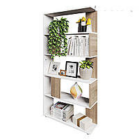Отличный стеллаж для дома, перегородка, книжный шкаф из ДСП 5 отделений, Дуб Сонома