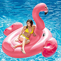 Надувной плот для катания Intex 57288 огромный Розовый «Фламинго» с ручками
