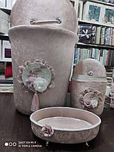 Набор бархатных корзин в ванную комнату ART OF SULTANA 3 предмета розовый