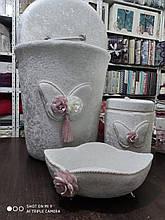 Набор бархатных корзин в ванную комнату ART OF SULTANA 3 предмета кремовый