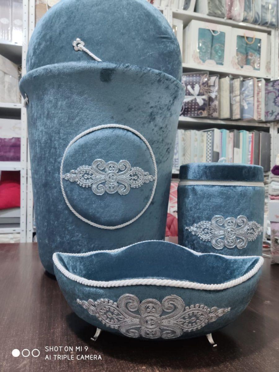 Набор бархатных корзин в ванную комнату ART OF SULTANA 3 предмета голубой