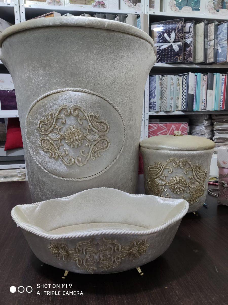 Набор бархатных корзин в ванную комнату ART OF SULTANA 3 предмета крем