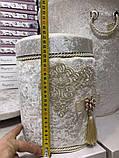 Набор бархатных корзин в ванную комнату ART OF SULTANA 3 предмета крем, фото 5