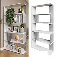 Качественный стеллаж для дома, перегородка, книжный шкаф из ДСП 5 отделений, Бетон