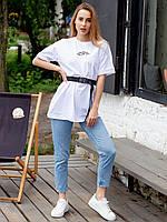Лаконичная молодежная футболка оверсайз с принтом