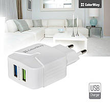 Зарядное устройство ColorWay, White, 2 порта USB, 2.4A, (CW-CHS004-WT), зарядка для смартфона, телефона, фото 2