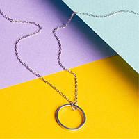 Колье серебряное Круг на тоненькой цепочке
