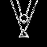Колье серебряное Гармония с двумя подвесками на двух цепочках