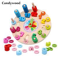 Развивающий, деревянный сортер Часы Candywood, фото 1