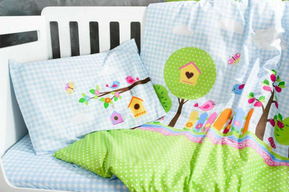 Постельное белье в детскую  кроватку Bird Garden.