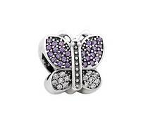 Шарм срібний з камінням Метелик