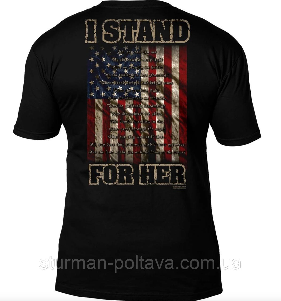 """Футболка   мужская патриотическая  черная с флагом  7,62  Design   """"Я стою за неё""""- M"""