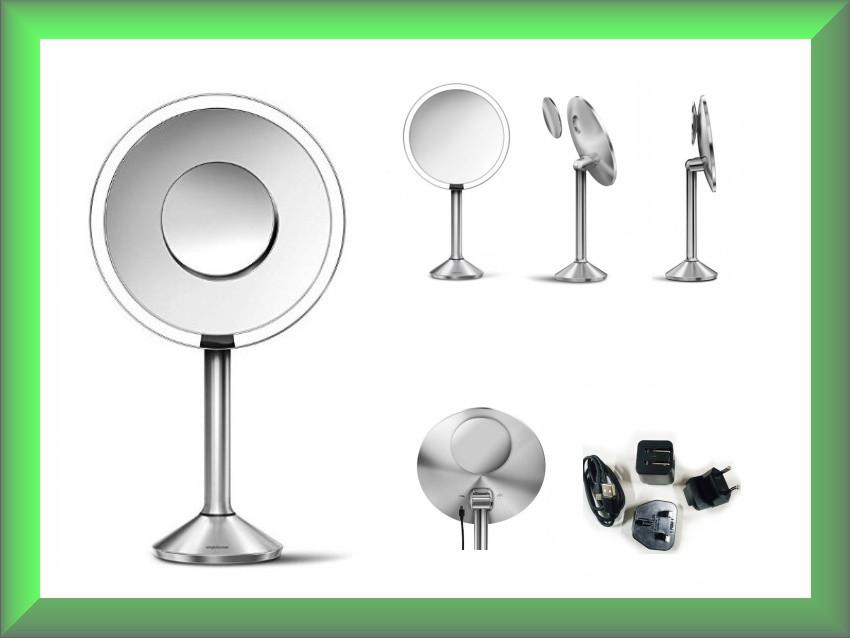 Дзеркало сенсорне кругле 20 см Pro на акумуляторі Wi-Fi ST3007 Simplehuman (збільшення 5х10)