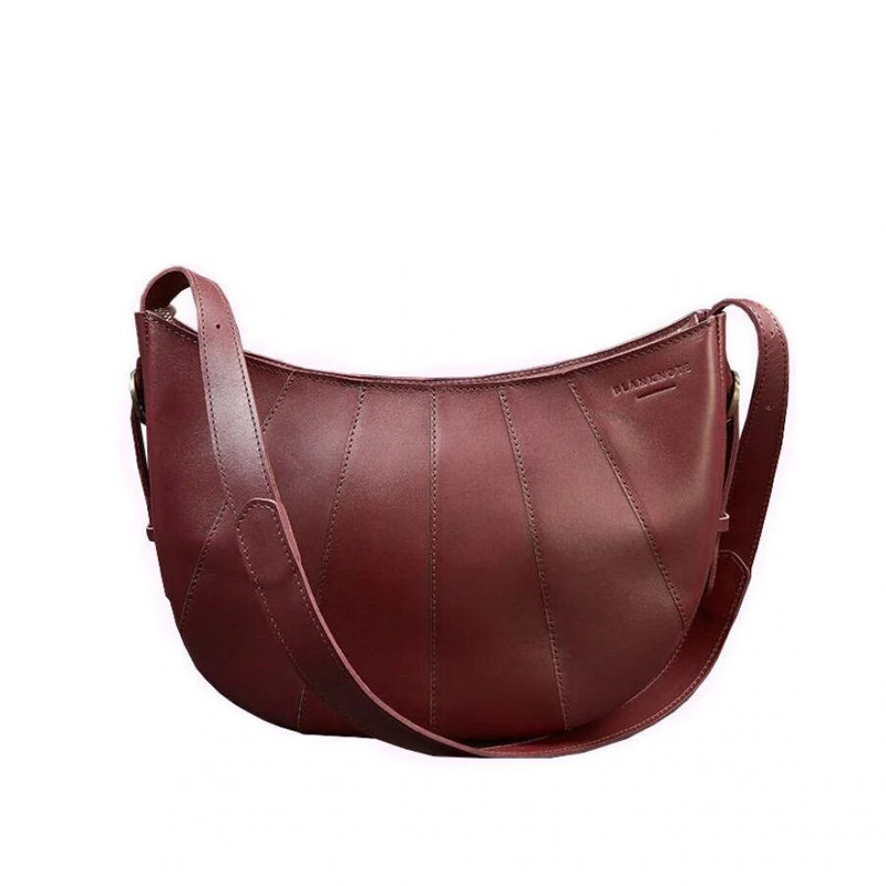 Кожаная женская сумка Blanknote Круассан Krast бордовая