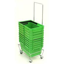 Подставка для корзин покупательских на 4 колесах 360º с ручкой