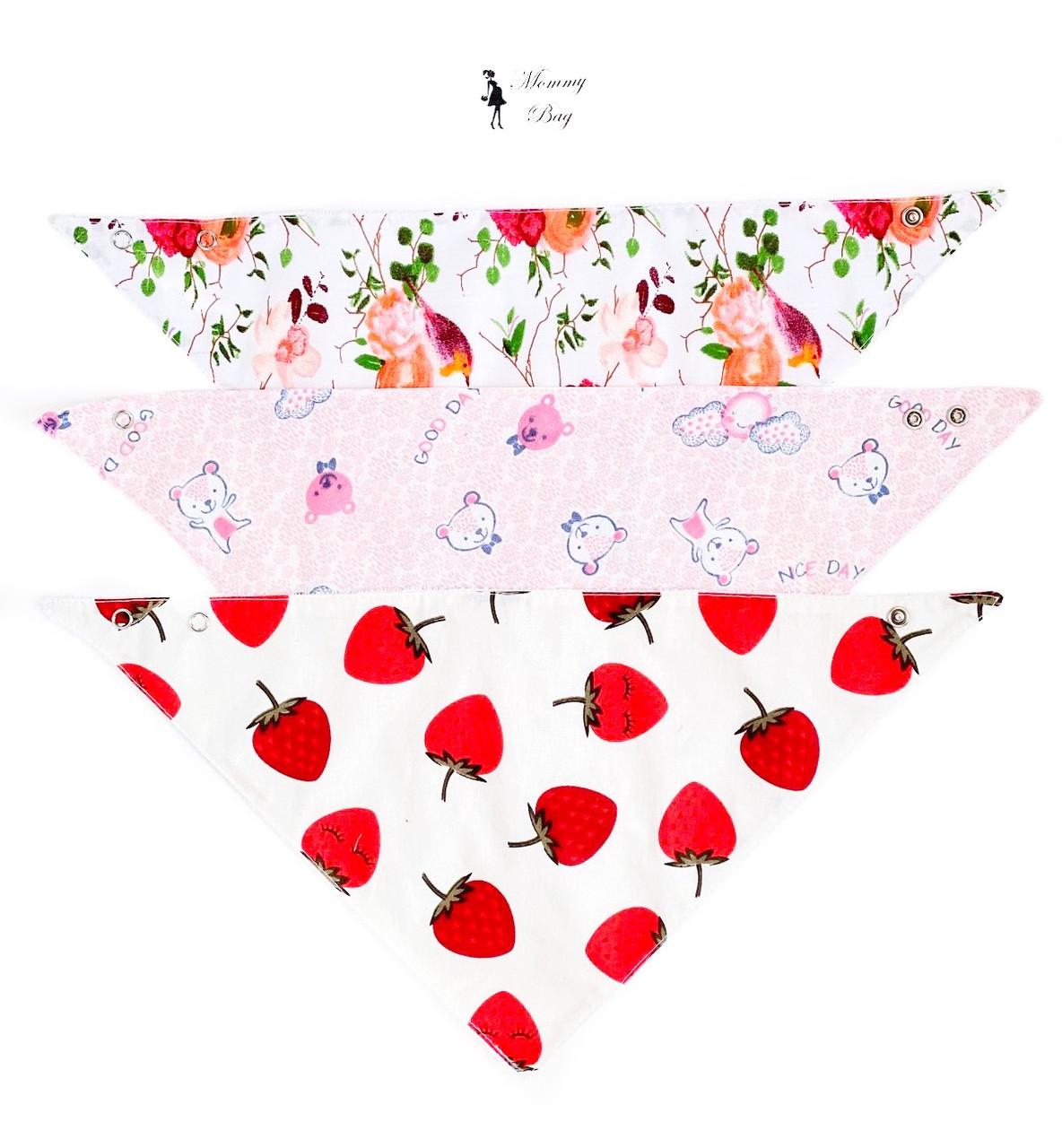Набор непромокаемых Слюнявчиков 3 шт. 0-6 мес для девочки