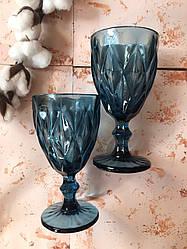 Набор 6 бокалов из синего цветного стекла Изольда по 300 мл