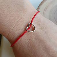 Браслет синтетический красный с серебряной застежкой и Сердечком, фото 1