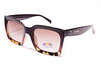 Солнцезащитные очки квадратные Celine P3912 C3 реплика Коричневые в леопардовой оправе с поляризацией