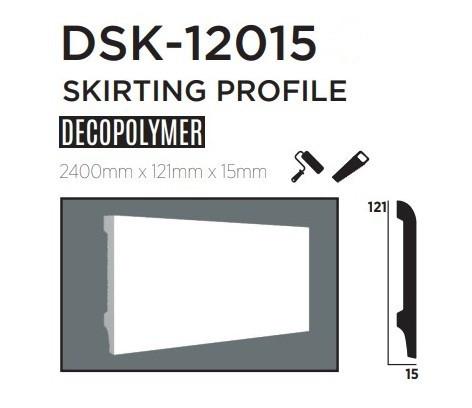 Плинтус напольный DECOLUX DSK12015, лепной декор из дюрополимера