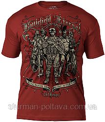 Футболка мужская   патриотическая  7.62 Design Войны эпох  'Battlefield Eternal'  бардовая