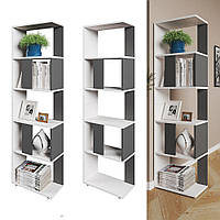 Стильный стеллаж для дома, перегородка, книжный шкаф из ДСП 5 отделений, Венге магия