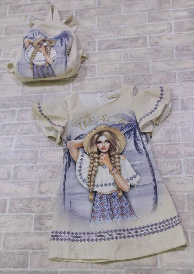 Детское  платье в косплекте  с рукзаком Турция , ОПТ