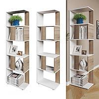 Удобный стеллаж для дома, перегородка, книжный шкаф из ДСП 5 отделений, Дуб Сонома