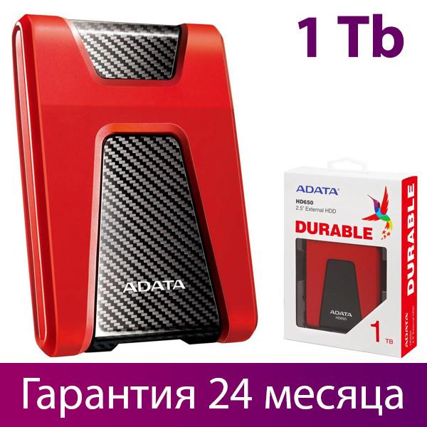 """Внешний жесткий диск 1 Тб A-Data DashDrive Durable HD650, Red, 2.5"""", USB 3.1 (AHD650-1TU31-CRD)"""