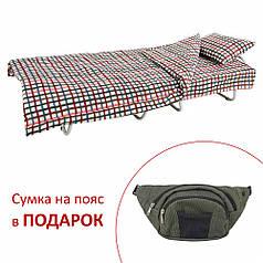 Кровать на ламелях с постелью d25 мм бязь Цветы (Цветная мелкая клетка)