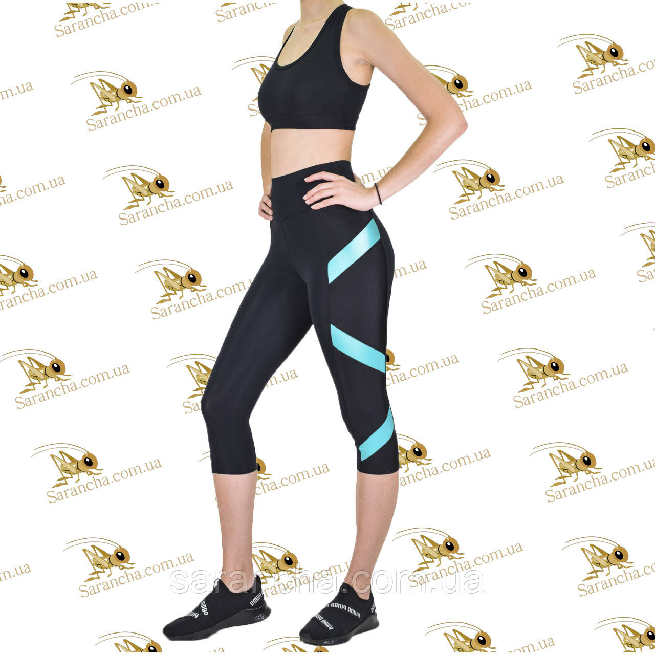 Жіночий спортивний комплект з бірюзовими вставками з еластану