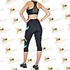 Жіночий спортивний комплект з бірюзовими вставками з еластану, фото 2