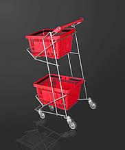 Тележка закупочная для покупательских корзин (22 л) на колесах двохярусная
