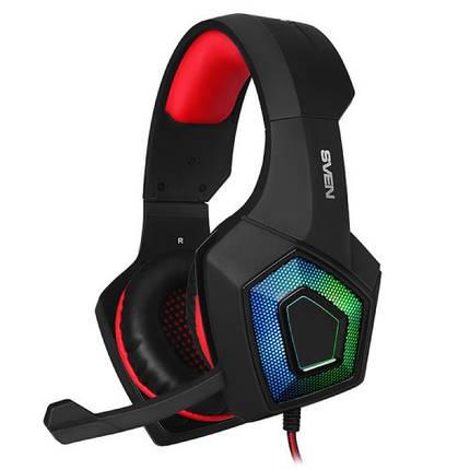 Игровые наушники с микрофоном SVEN AP-U880MV Black-Red, игровая гарнитура, фото 2