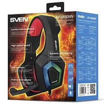 Игровые наушники с микрофоном SVEN AP-U880MV Black-Red, игровая гарнитура, фото 3