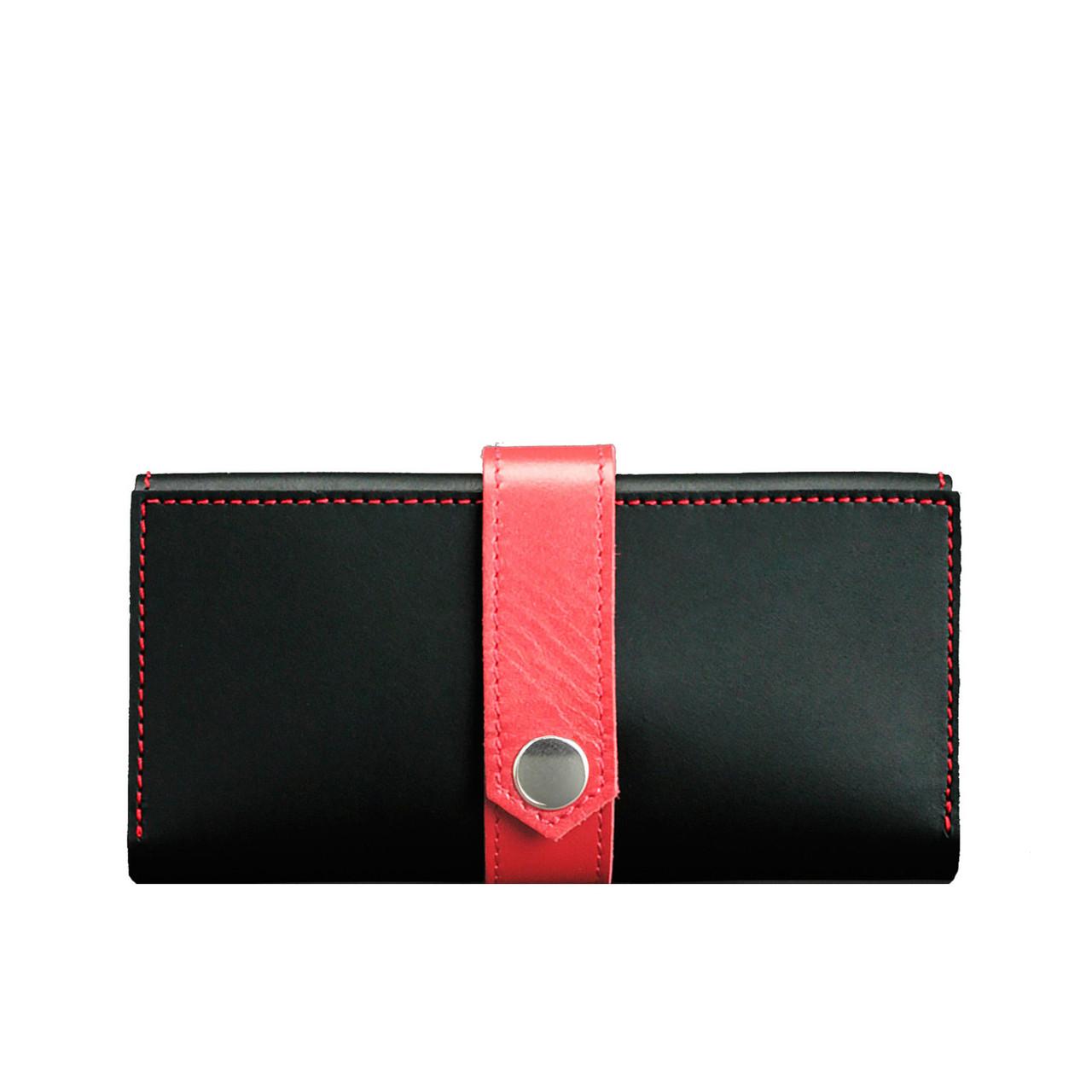 Кожаное женское портмоне Blanknote 3.0 черное с красным