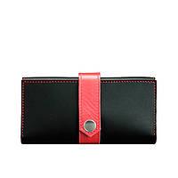 Кожаное женское портмоне Blanknote 3.0 черное с красным, фото 1