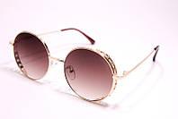 Солнцезащитные круглые женские очки Шанель 003 C3 реплика Коричневые с градиентом