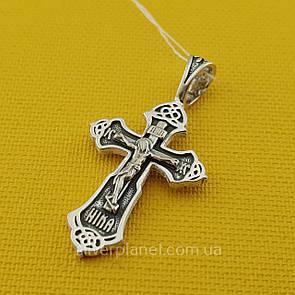 Резной серебряный крестик. Черненый православный кулон из 925 серебра