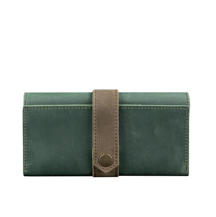 Кожаное женское портмоне Blanknote 3.0 зеленое с коричневым