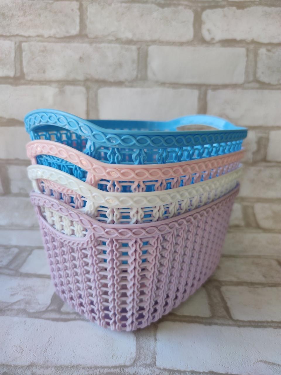 Ажурна корзинка з ручками для зберігання дрібниць, матеріал пластик, розмір25х18х12 см, ціна 45 грн