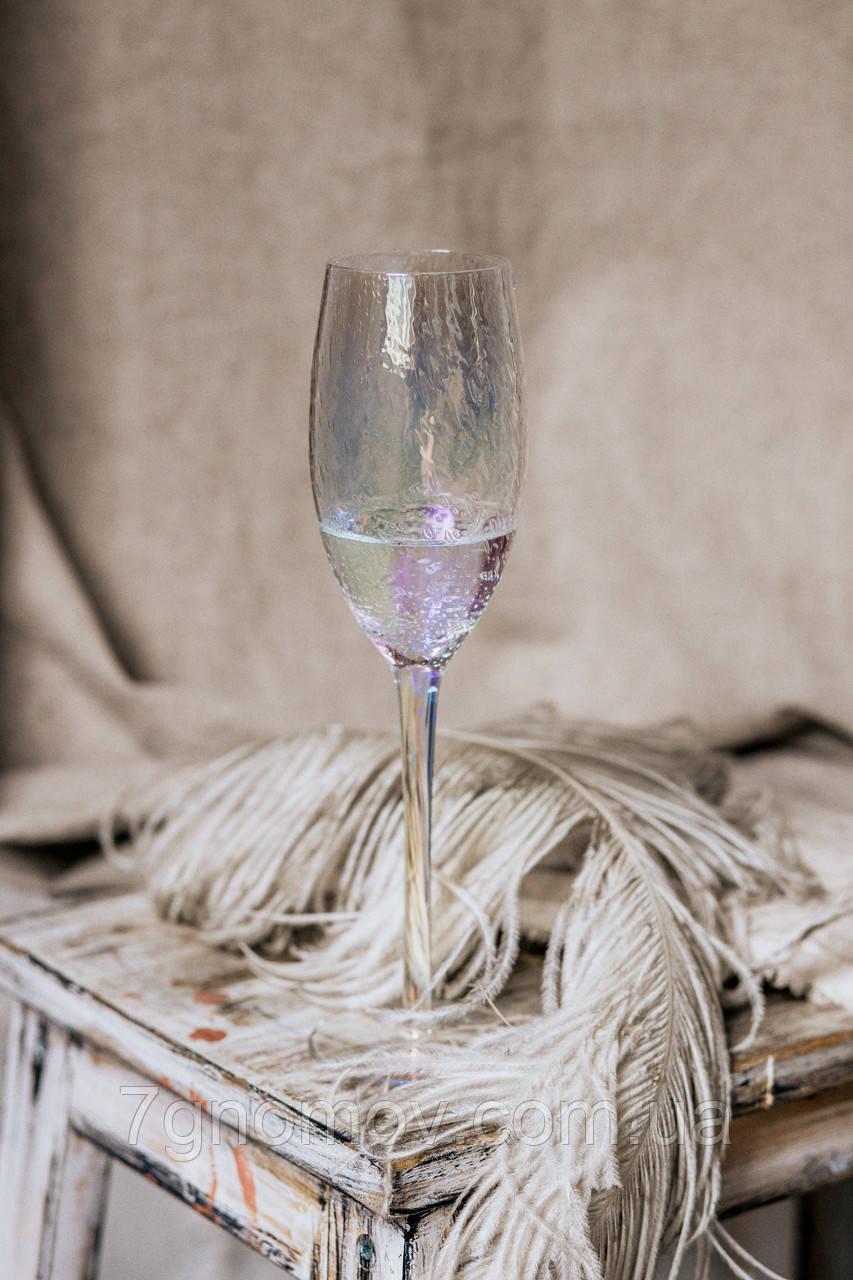 Набор 6 бокалов для шампанского из разноцветного стекла Семицвет 250 мл