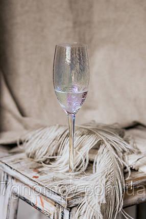 Набор 6 бокалов для шампанского из разноцветного стекла Семицвет 250 мл, фото 2