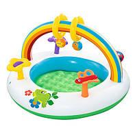 Детский надувной бассейн Bestway 52239 круглый 91х56 см с надувным дном для дачи от 1 года