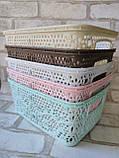 Ажурний прямокутний ящик з ручками, матеріал пластик, розмір 25х19х10,5 см, ціна 45 грн, фото 2