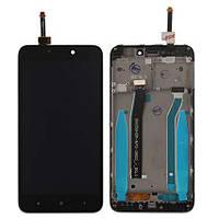 Модуль Xiaomi Redmi 4X black с рамкой дисплей экран, сенсор тач скрин Сяоми Ксиоми Редми 4Х