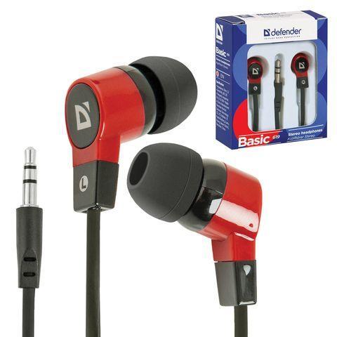 Навушники Defender Basic-619 чорно-червоні, вакуумні, дротові для телефону, навушники дефендер