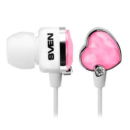 Наушники Sven SEB-150 (GD-1500) Glamour бело-розовые, вакуумные, проводные для телефона, навушники свен, фото 2