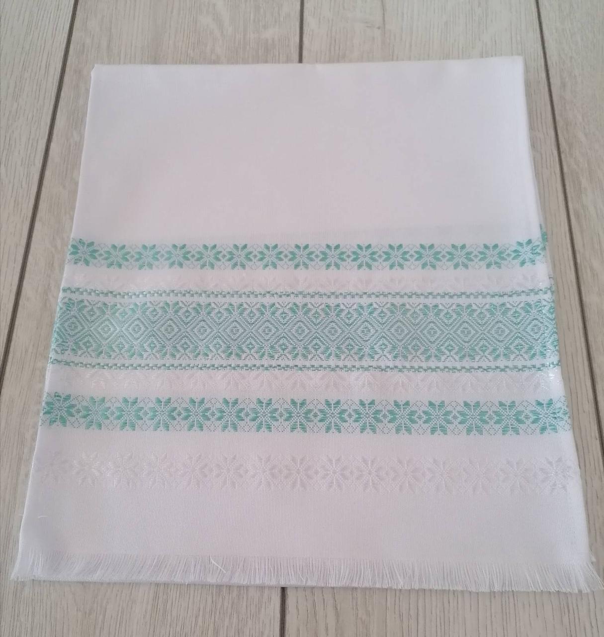 Тканый льняной рушник Волинські візерунки с мятным орнаментом 80 см