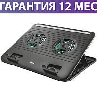 """Охлаждающая подставка для ноутбука 16"""" Trust Cyclone, Black, 2 вентилятора, подъем/наклон, 230х300х15 мм"""